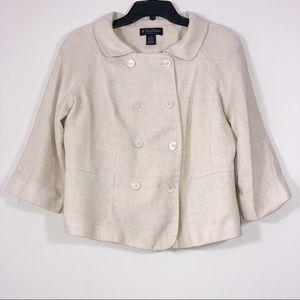 Brooks Brothers Silk Linen Blend Cropped Blazer 12